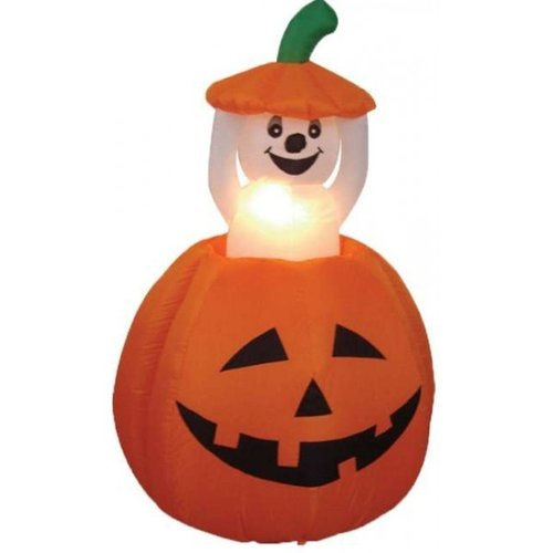 BZB Goods 6' Halloween Inflatable Animated Pumpkin and Ghost