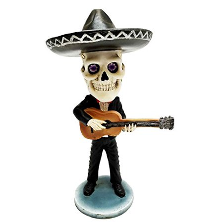 Day of The Dead Mariachi Guitar Player Skeleton Bobblehead Figurine Skull - Guitar Skeleton