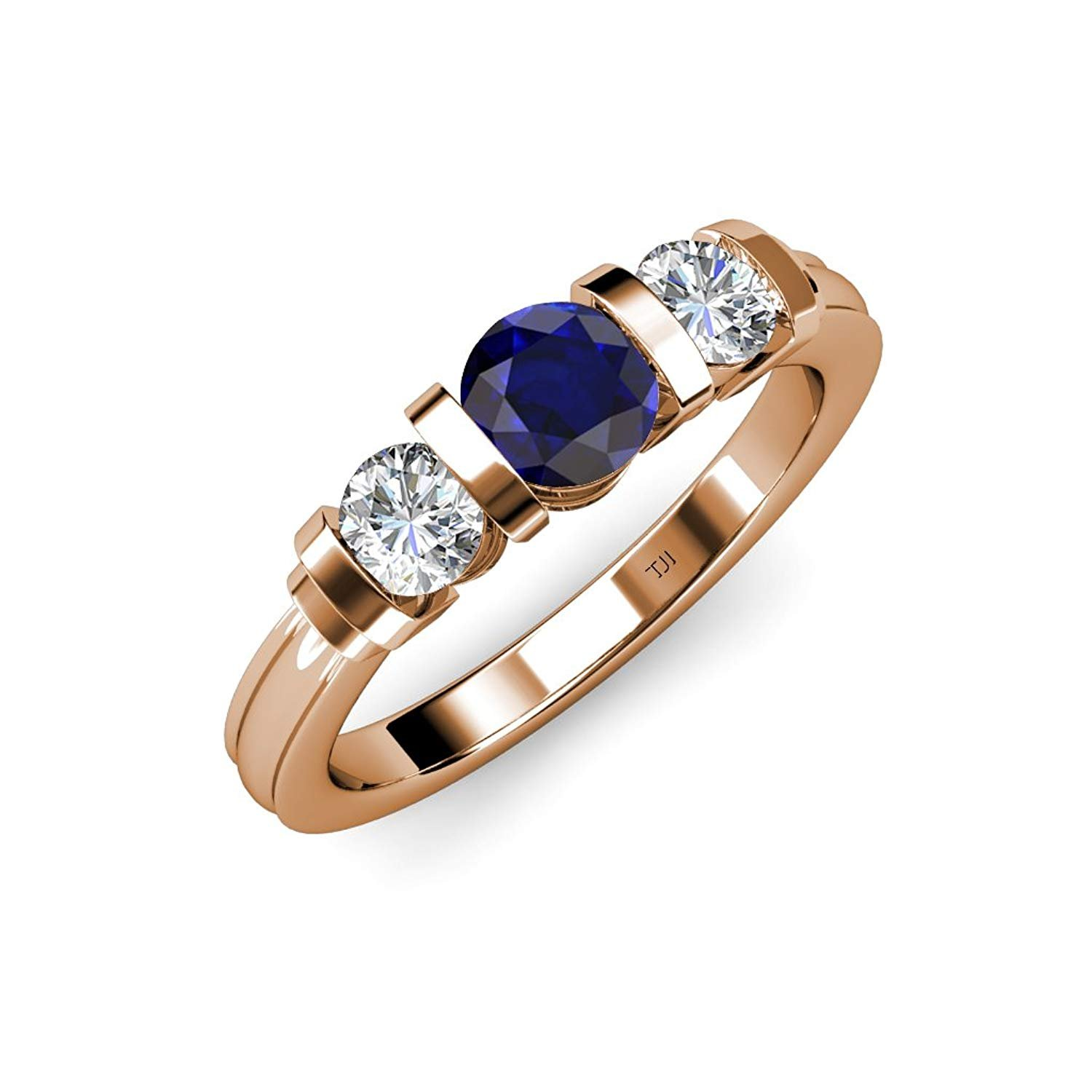 Blue Sapphire and Diamond (SI2-I1, G-H) Bar Set Three Stone Ring 1.13 ct tw in 14K Rose Gold.size 4.5 by TriJewels