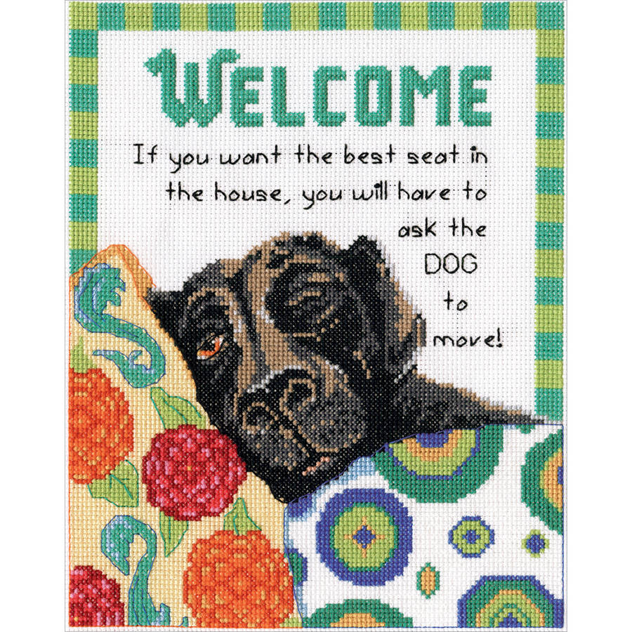 "Best Seat Welcome Counted Cross Stitch Kit, 8"" x 10"", 14-Count"