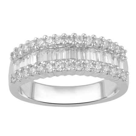 1.00 Carat T.W Diamond three row Sterling Silver Anniversary Ring. ()