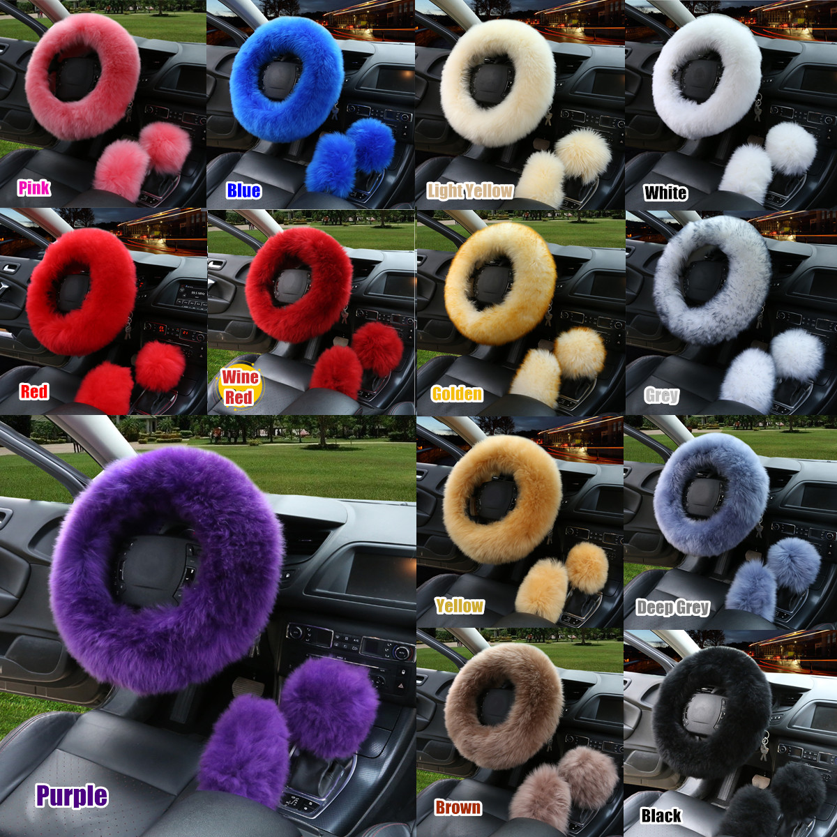 3Pcs Fashion Wool Plush Non-slip Car Steering Wheel Cover Protector + Gear Knob Shifter Parking Brake Cover Set Car Accessories Decor Gift 14.2""