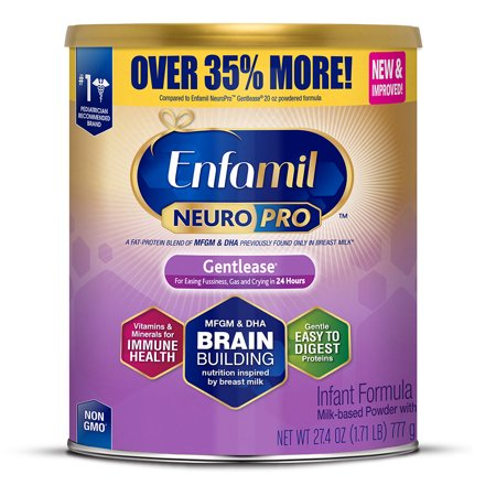 Enfamil NeuroPro Gentlease Baby Formula with DHA, for Gassy or Fussy Babies, 27.4 oz. Can