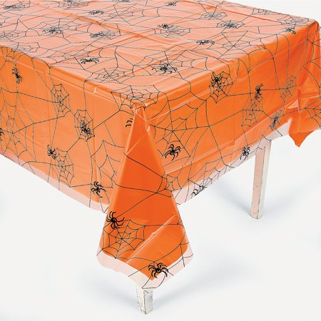 Fun Express - Clear Plastic Spiderweb Tablecover for Halloween - Party Supplies - Table Covers - Print Table Covers - Halloween - 1 Piece - Holloween Express