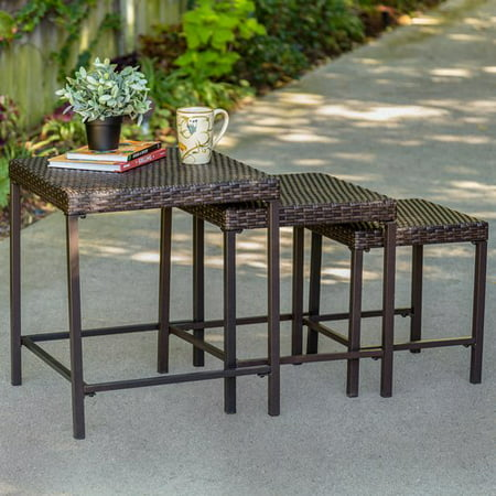 Tuscany 3-Piece Nesting Outdoor Side Table Set, Wicker