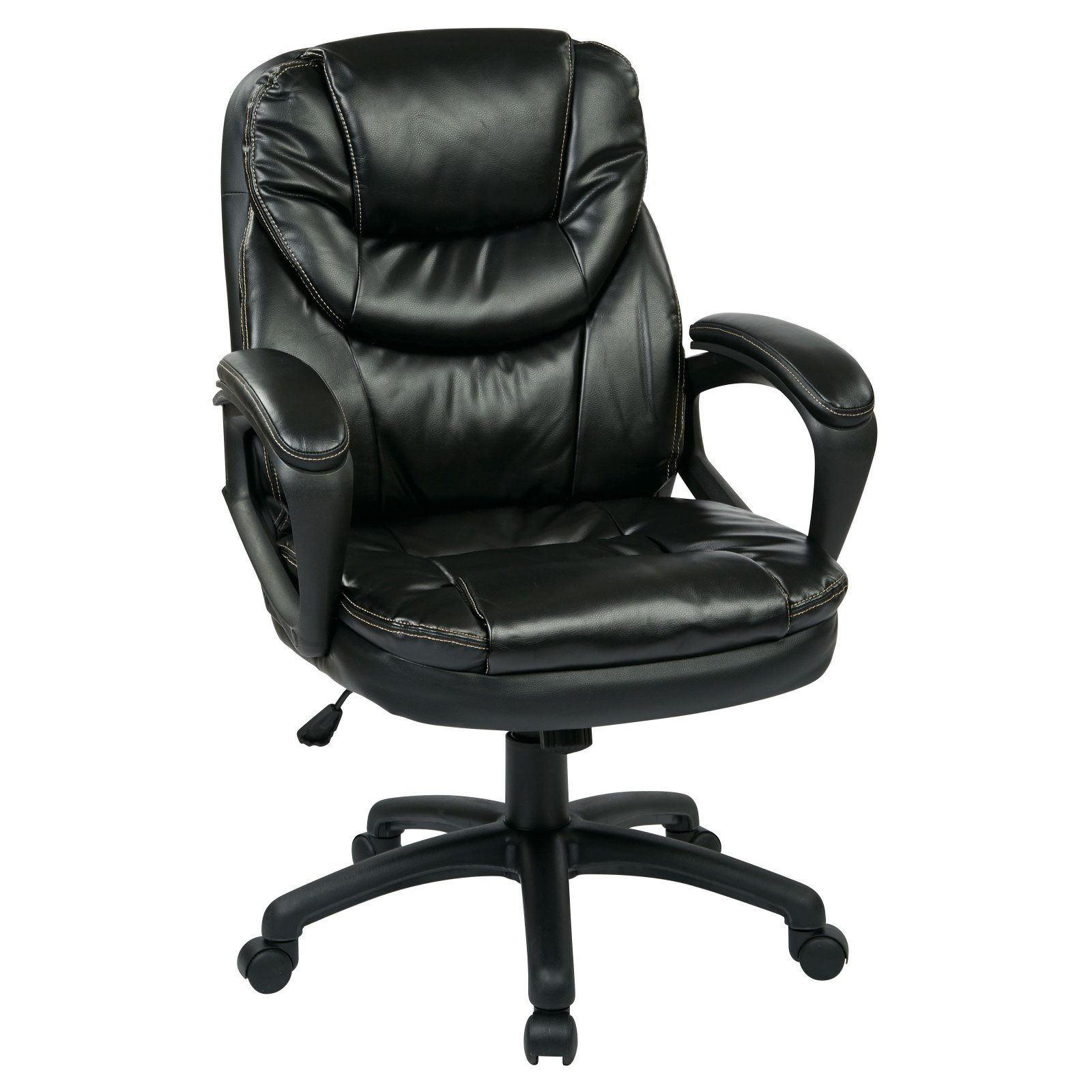 Office Star FauxLeather Managers Office Chair with Padded Arms
