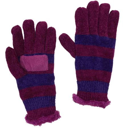Hand Woven Rayon Chenille (Isotoner Womens Pink & Purple Stripe Rayon Chenille Knit Gloves Microplush )