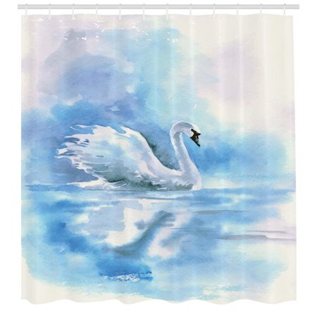 Swan Shower Curtain Watercolor Drawing Picture Of In The River Hazy Color Aqua Concept