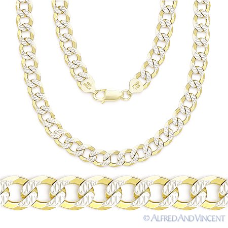 Cuban / Curb Link 5mm Chain Necklace in 14 Gold-Plated .925 Sterling Silver (Cuban Link Chain In Silver)