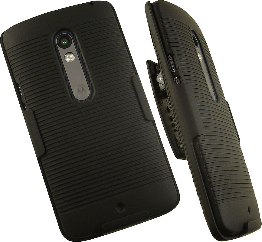 NAKEDCELLPHONE'S BLACK RIBBED RUBBERIZED HARD SHELL CASE COVER + BELT CLIP HOLSTER STAND FOR VERIZON MOTOROLA DROID MAXX 2 PHONE (XT1561, XT1562, XT1563, XT1565)