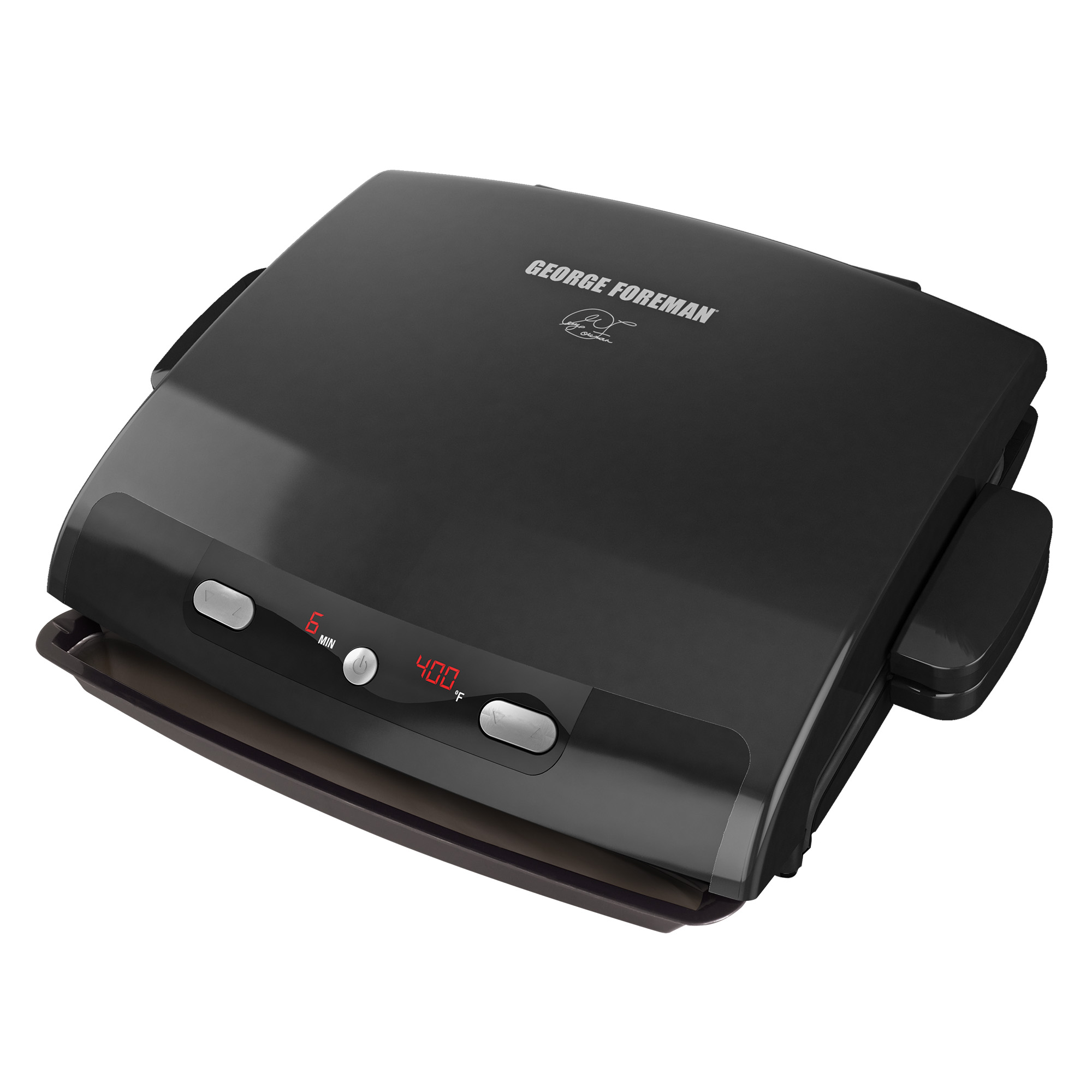George Foreman 6-Serving Removable Plate & Panini Grill with Digital Temperature, Black, GRP99BLK