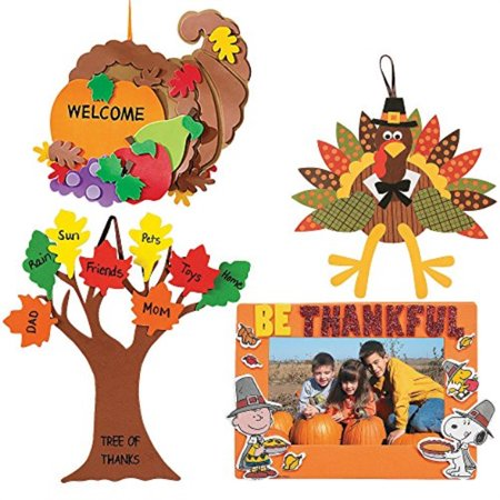 Craft Kits Thanksgiving and Autumn | Peanuts Be Thankful Picture Frame Magnet Kit, Foam Cornucopia Door Sign Kit, Turkey Making
