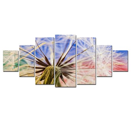 Startonight Huge Canvas Wall Art Dandelion, USA Large Home Decor, Dual View Surprise Artwork Modern Framed Wall Art Set of 7 Panels Total 39.37 x 94.49 inch ()