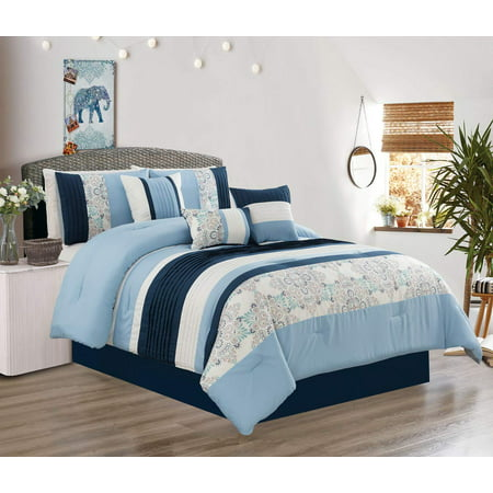 Modern 7 Piece Oversize Comforter Set Bedding with Accent Pillows (Blue, King) ()