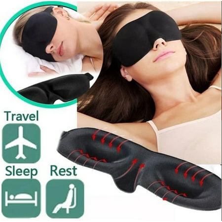 Soft Cotton Eye Mask Memory Padded Blindfold 3D Eye Mask Travel Sleep Aid Shade Cover Black