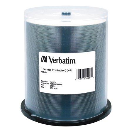 Verbatim CD-R Discs, Printable, 700MB/80min, 52x, Spindle, White, 100/Pack ()