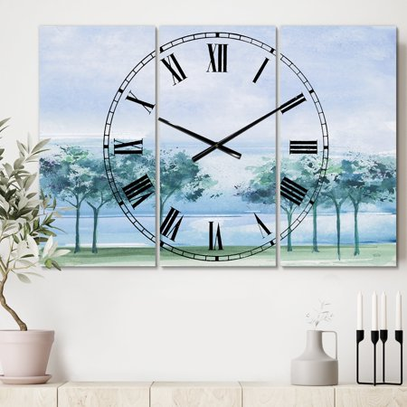 - DESIGN ART Designart 'Tree Across the Lake' Cottage 3 Panels Large Wall CLock - 36 in. wide x 28 in. high - 3 panels