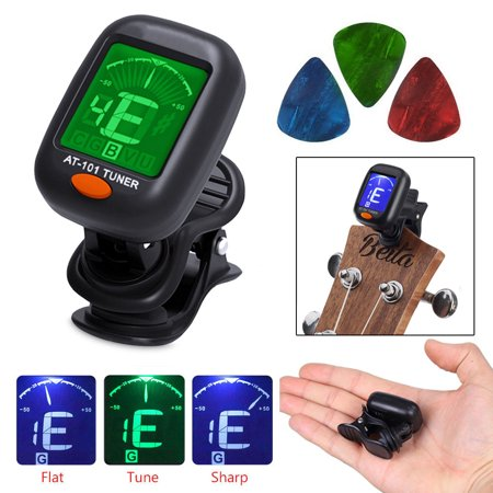 Digital Chromatic LCD Clip-On Electric Tuner for Bass, Guitar, Ukulele, (Best Electric Guitar Tuners)