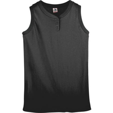 551 Girls Sleeveless Two Button Softball Jersey Black M Walmart Com