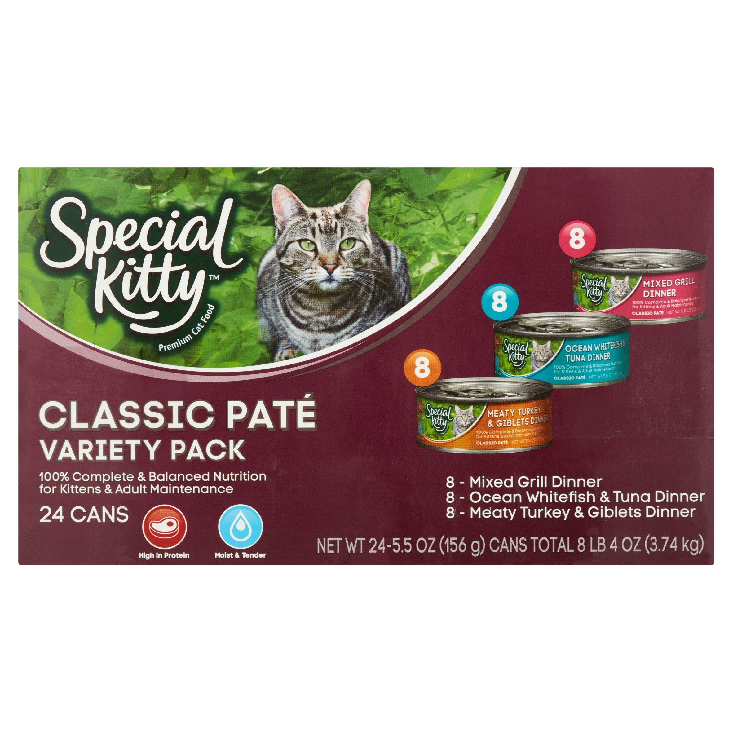 Special Kitty Classic Pate Variety Pack Wet Cat Food, 5.5 Oz, 24 Ct