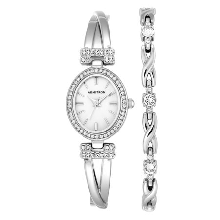 Women's Dress Oval Watch and Bracelet Set (Oval Italian Charm Watch)