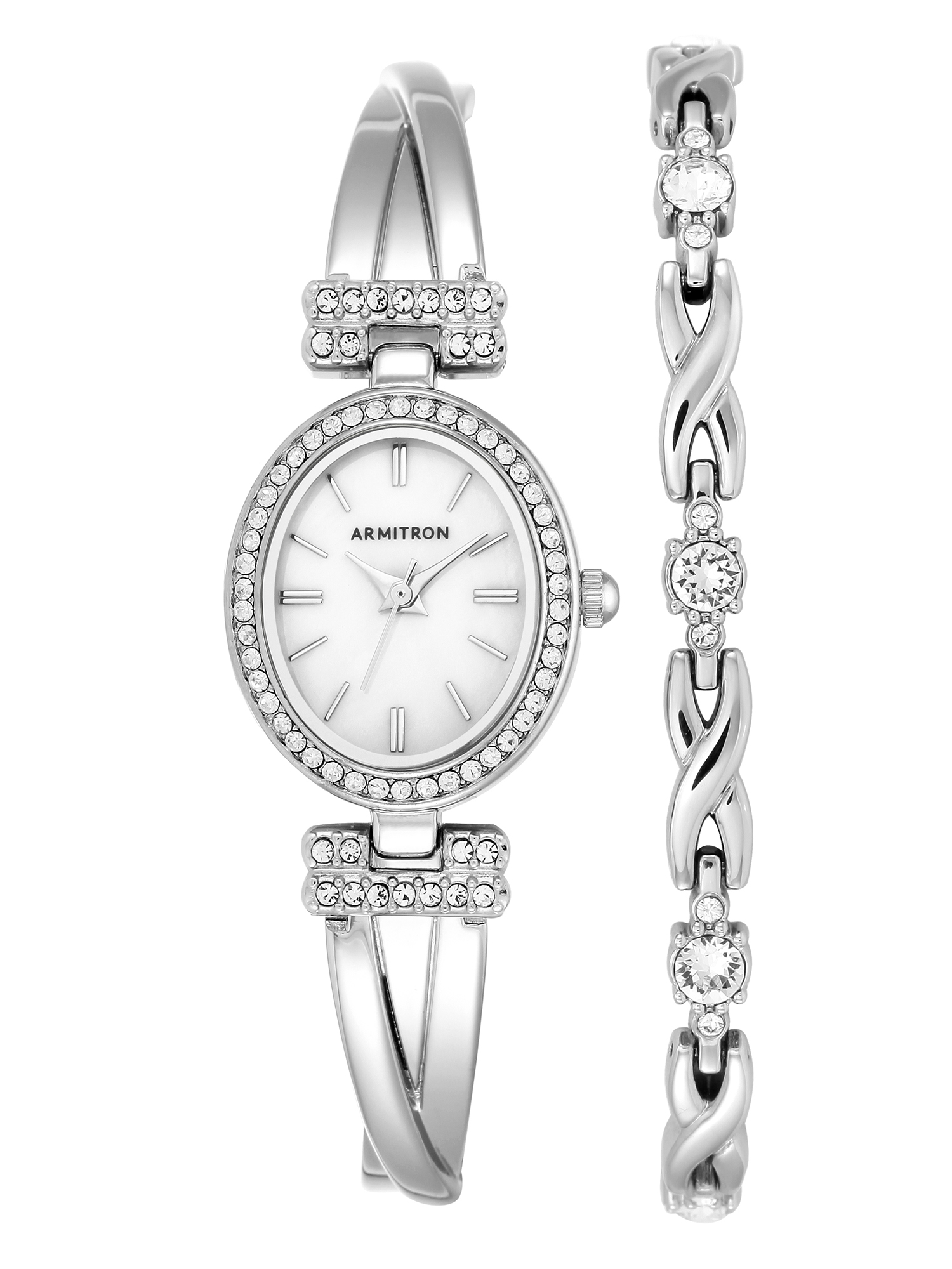 Women's Dress Oval Watch and Bracelet Set