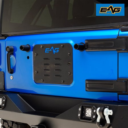 EAG Tailgate Vent-Plate Cover/Space Tire Carrier - fits 07-18 Jeep Wrangler JK ()