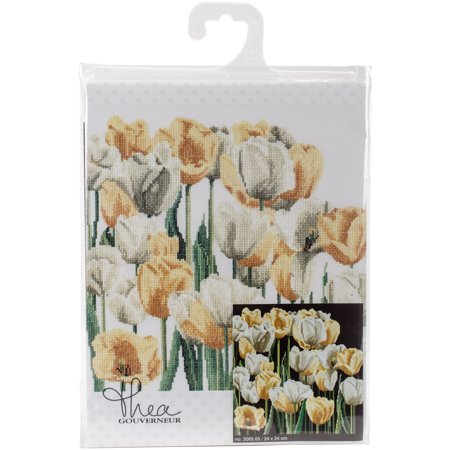 "Thea Gouverneur Counted Cross Stitch Kit 9.5""X9.5""-Tulips On Aida (18 Count) - image 1 of 1"