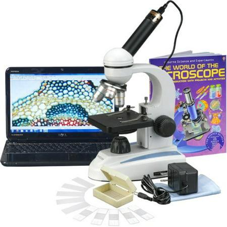 AmScope M149C-PB10-WM-E Digital Compound Monocular Microscope, WF10x and WF25x Eyepieces, 40x-1000x Magnification, LED Illuminat
