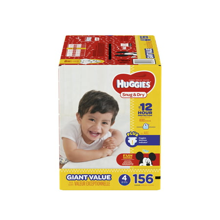 HUGGIES Snug & Dry Diapers, Size 4, 156 Count