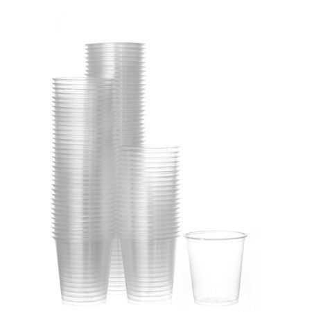 Disposable Plastic Cups Small, Clear 3.5 oz. Snack & Drink Size | Party, Event, Wedding, Kids | Recyclable Drinkware | Tea, Soda, Water, Juice, Milk (4 Pack 200 Cups)