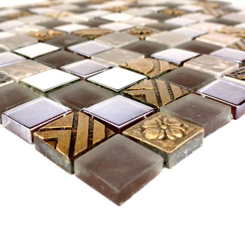 "Abolos- Monarchy 1"" x 1"" Glass and Stone Mosaic Tile in Antigua (4.9sqft / 5sht Box)"