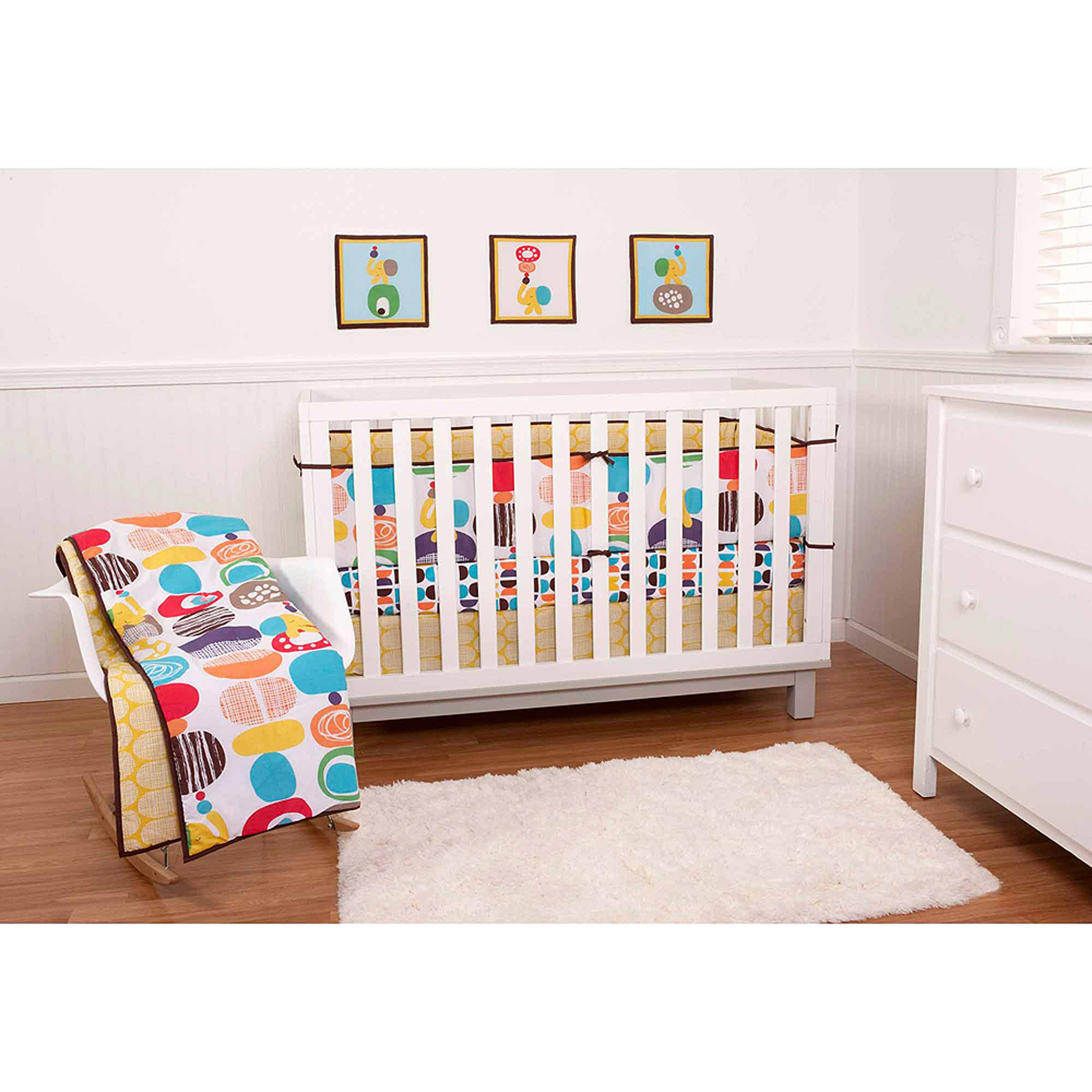 Sumersault Textured Pebbles 9-Piece Nursery in a Bag Crib Bedding Set with BONUS Bumper