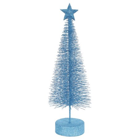 """Pack of 2 Turquoise Blue Glitter Sisal Artificial Table Top Christmas Trees 12"""""""