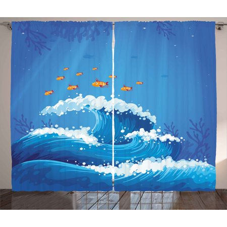 Marine Curtains 2 Panels Set  Underwater With Group Of Fish And Wave In The Ocean Coral Reef Illustration  Window Drapes For Living Room Bedroom  108W X 84L Inches  Violet Blue Orange  By Ambesonne