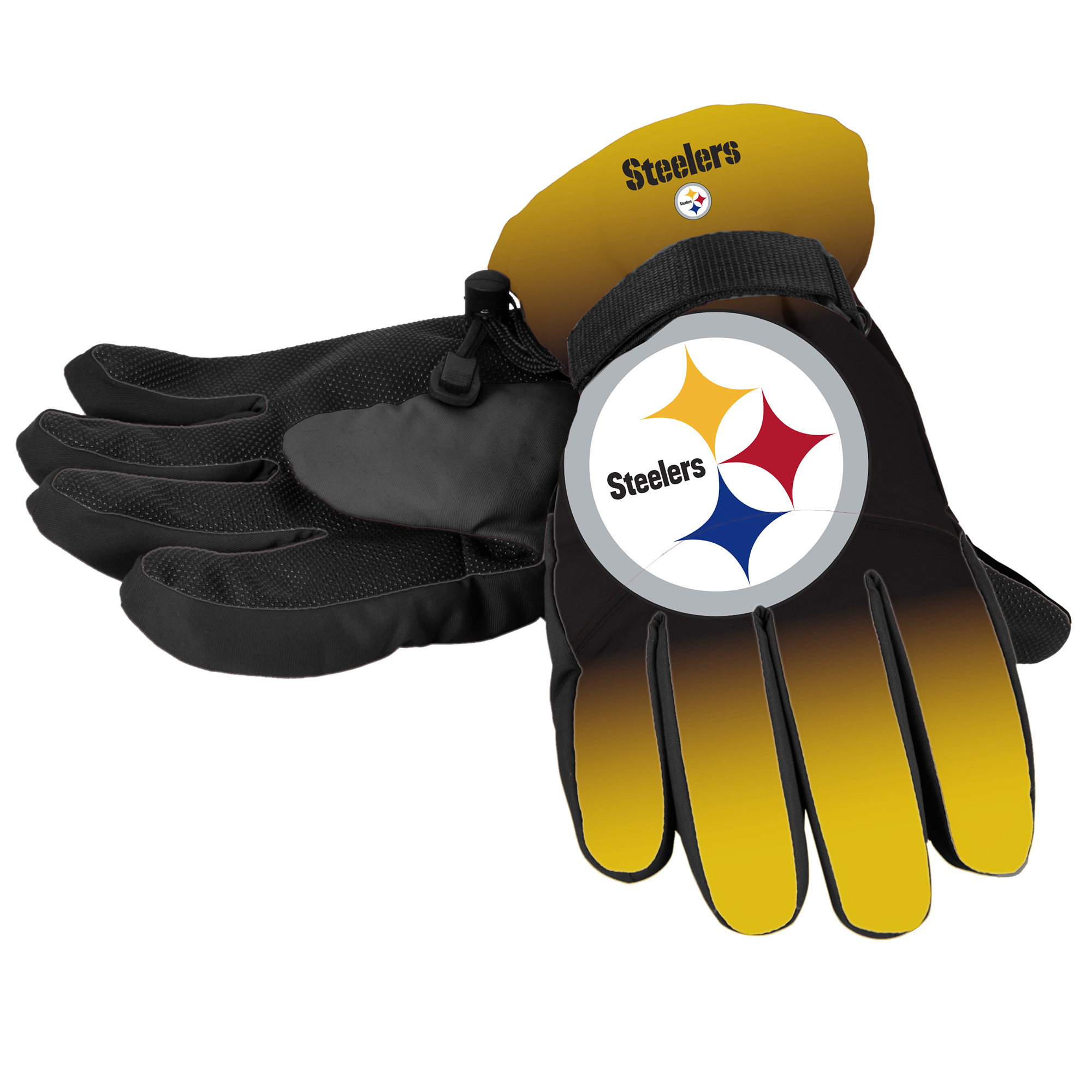 Forever Collectibles - NFL Gradient Big Logo Insulated Gloves-Small/Medium, Pittsburgh Steelers