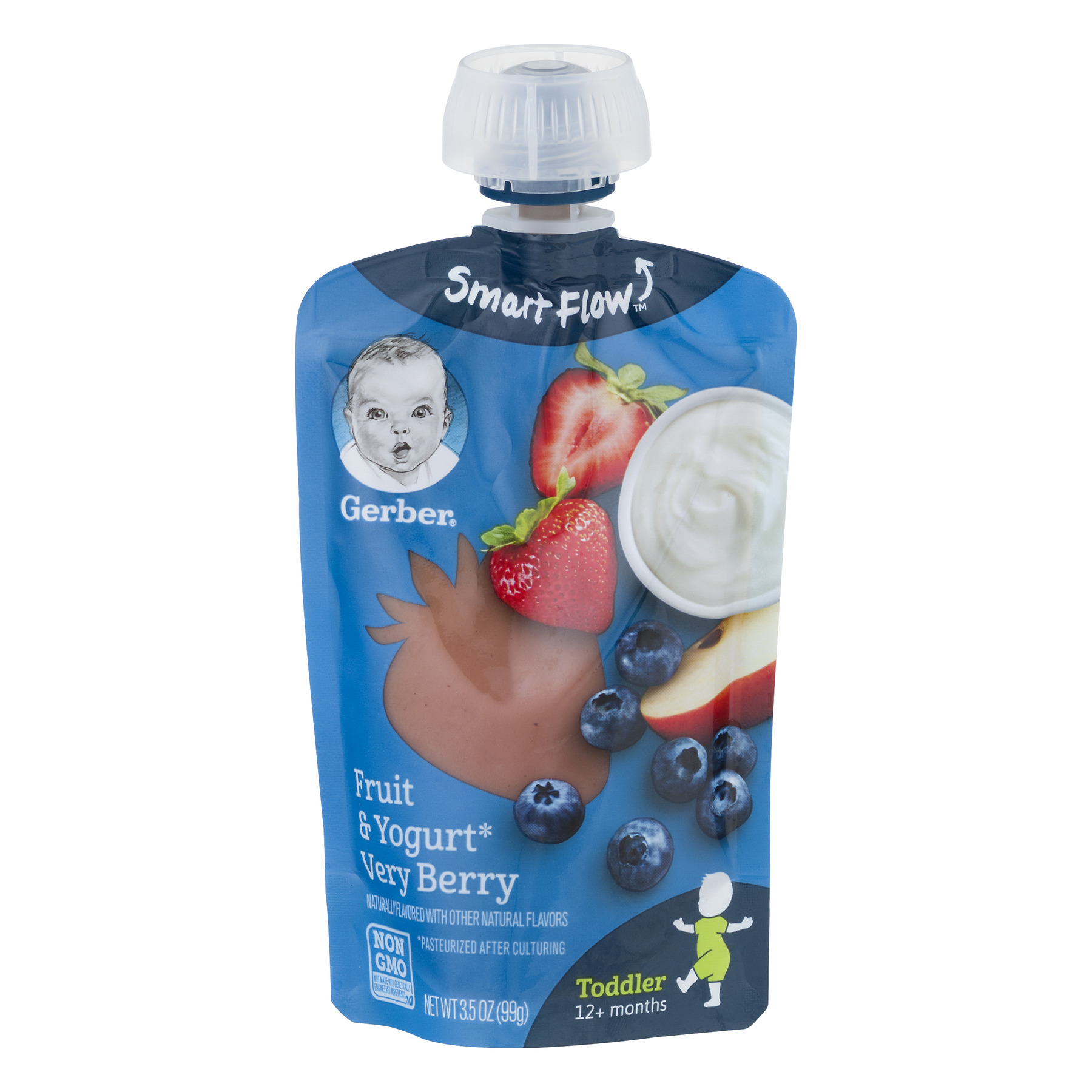 Gerber Pouch Toddler Fruit & Yogurt Very Berry Non GMO, 3.5 OZ