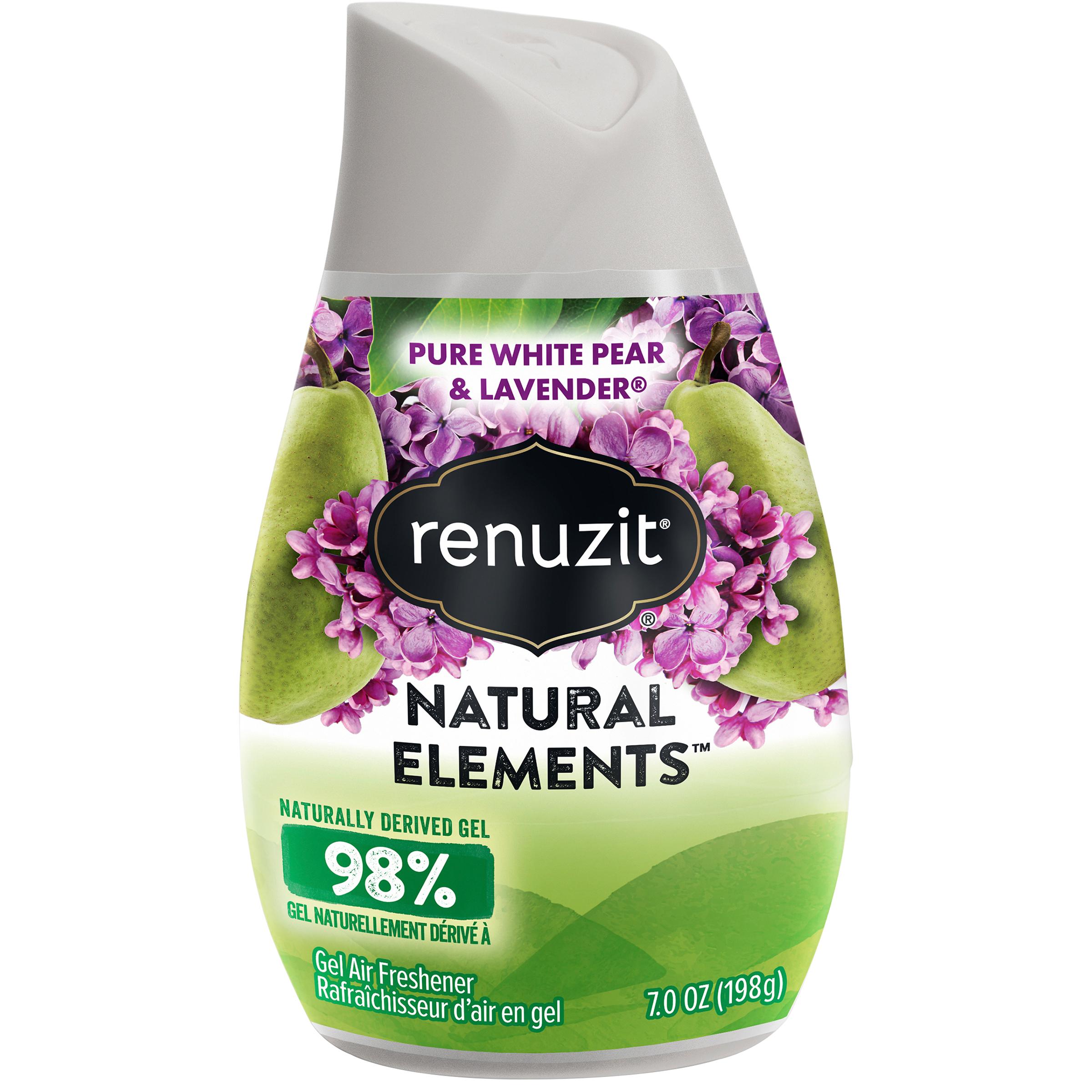 (4 pack) Renuzit Natural Elements Gel Air Freshener, Pure White Pear & Lavender, 7 Ounces