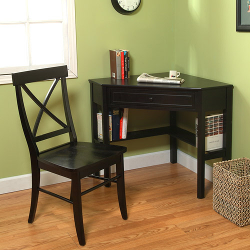 Corner Writing Desk with Easton Crossback Chair, Black