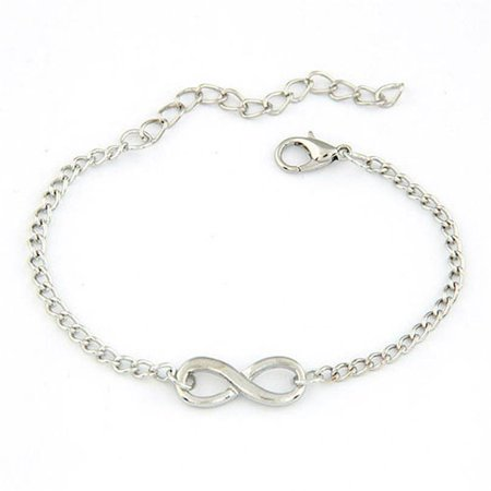 Stainless Steel Infinity Love Charm Womens Beauty Jewelry Bracelet Gift (Silver)