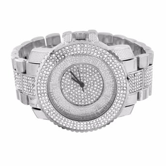 Mens Simulated Diamond Watch White Gold Tone Iced Out Round Face Analog Jojino