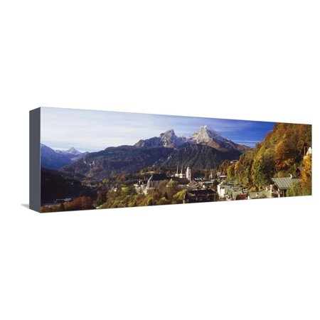 Bavaria Germany Saucer (Overview of Berchtesgaden and the Watzmann Mountain in Autumn, Berchtesgaden, Bavaria, Germany Stretched Canvas Print Wall Art By Miles Ertman )