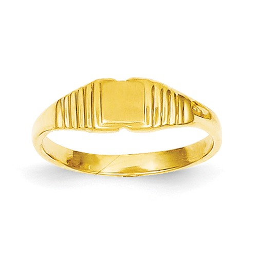 14k Yellow Gold Engravable Childs Polished & Satin Ring