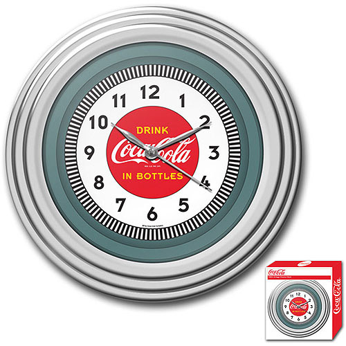 "11.75"" Coca-Cola Clock with Chrome Finish, 1930's Style"