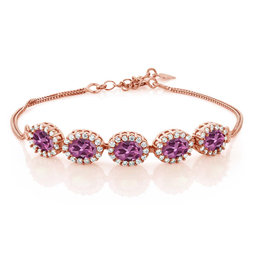 4.54 Ct Oval Pink Tourmaline AA 18K Rose Gold Plated Silver Bracelet by