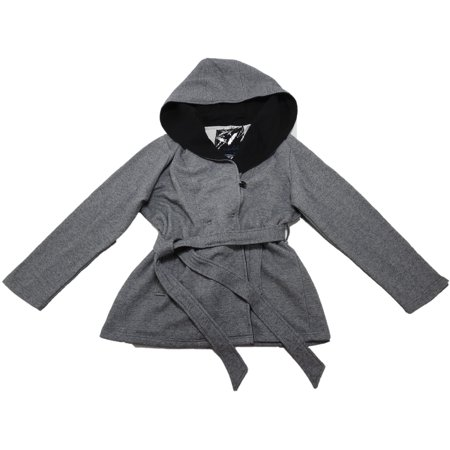 Womens Hooded Peacoat - Sebby Collection Womens Size 2X-Large Hooded Fleece Peacoat, Grey Tweed Black