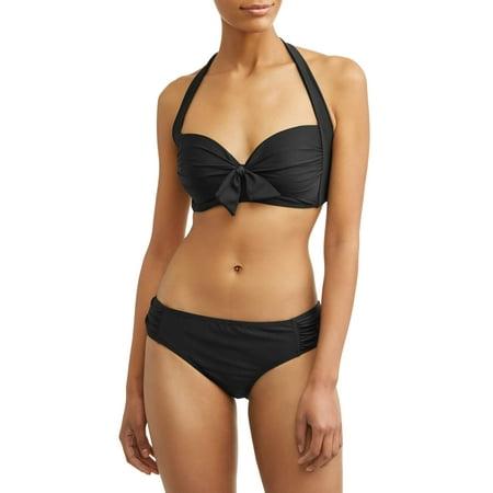 Tie Back Bandeau (Women's Solid Tie Front Bandeau Swimsuit)