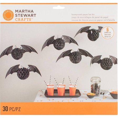Martha Stewart Halloween Pumpkins (Honeycomb Bat Kit, Makes 6, Spooky)
