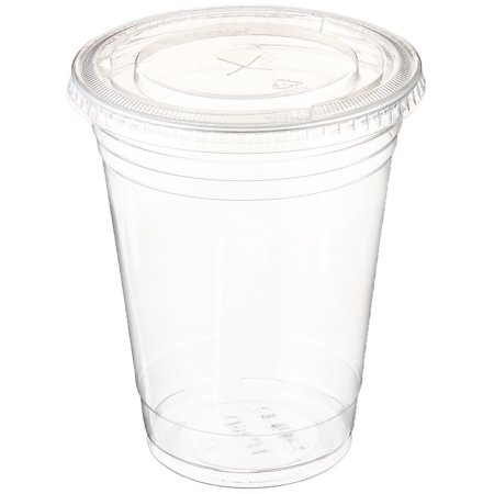 Clear plastic disposable cups - (50 sets with flat lids)