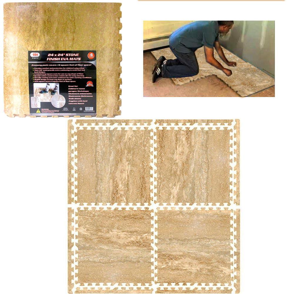 Interlocking Mats Stone Finish Travertine Eva Soft Foam Exercise Floor Gym Tiles